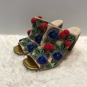 Tory Burch Ellis Embroidered Heel Mules